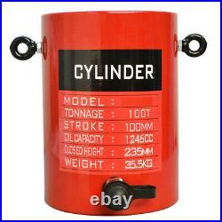100 Ton Hydraulic Lifting Cylinder 3.93 (100mm) Stroke Pressure Lift Jack Ram