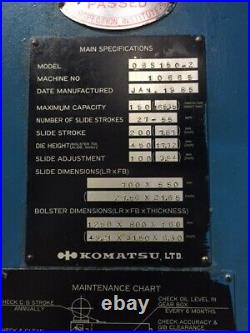 165 Ton Komatsu Gap Frame Press 7.87 Stroke 17.72 Shut Height 3.94 Ram Adjust