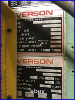 250 Ton Verson Obi Press 10 Stroke 6 Powered Ram Adjustment 26 Shut Height 30