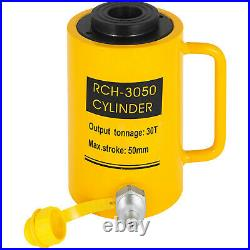 30 Ton Hydraulic Hollow Hole Cylinder Jack Ram 2 Stroke Pressure Pump 50mm
