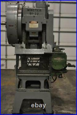 32 Ton Minster Gap Frame Press 1.5 Stroke 11 Shut Height 2.25 Ram Adjustment