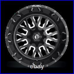 (4) 20x10 Fuel Black & Mill Stroke Wheel 5x139.7 & 5x150 For Ford Jeep Toyota GM