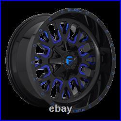(4) 22x12 Fuel Black & Blue Stroke Wheel 5x139.7 5x150 For Ford Jeep Toyota GM