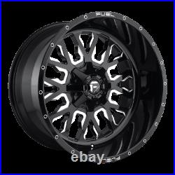 (4) 22x12 Fuel Black & Mill Stroke Wheel 5x139.7 & 5x150 For Ford Jeep Toyota GM