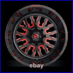 (4) 22x12 Fuel Black & Red Stroke Wheel 5x139.7 & 5x150 For Ford Jeep Toyota GM