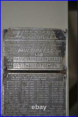 50 TON DENISON HYDRAULIC PRESS 12 STROKE 24 DAYLIGHT 12 DIAMETER RAM 19.5 x