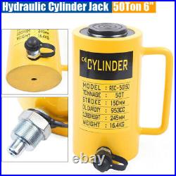 50-Ton Telescopic Hydraulic Cylinder Jack, Single Acting 6 inch(150mm) Stroke Ram