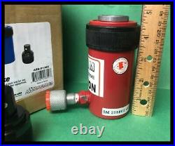 AES Short 10 Ton Ram 2 1/4 Stroke Hydraulic Jack, AES81002 with 2 attachments