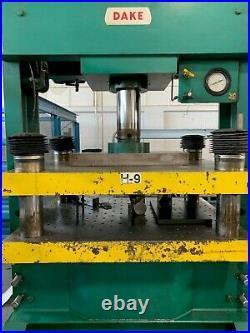 Used Dake 75 Ton H Frame Press 4-post Bed & Ram Die Set 17 Stroke Model 90818